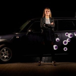 Bil klistermærker - lilla øjne
