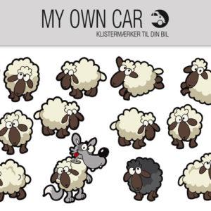 Klistermærker til bil - det sorte får, får og ulv