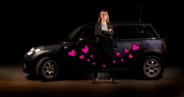 Klistermærker til bil - pink hjerter