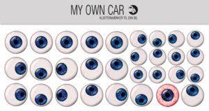 Stickers til bil - blå øjne