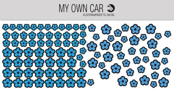 Bil klistermærker med blå blomster