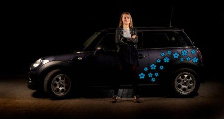 Stickers til bil - blå blomster