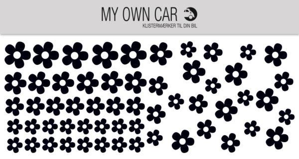 Klistermærker til bil med sorte blomster