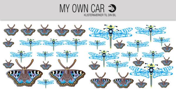 Bil klistermærker - guldsmede og sommerfugle