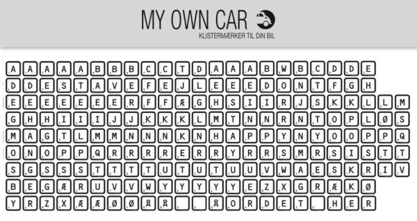 Klistermærker til bil - bogstaver