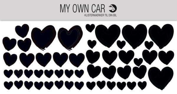 Bil klistermærker - sorte hjerter