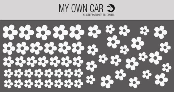 Bil klistermærker - hvide blomster