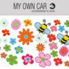 Bil klistermærker - blomster og bier